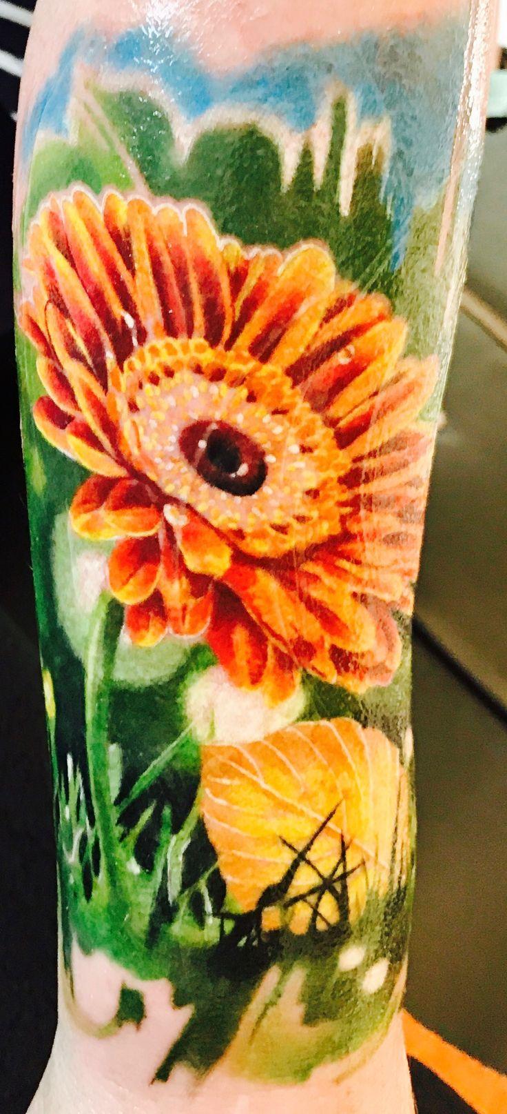 Watercolor Gerbera Tattoo