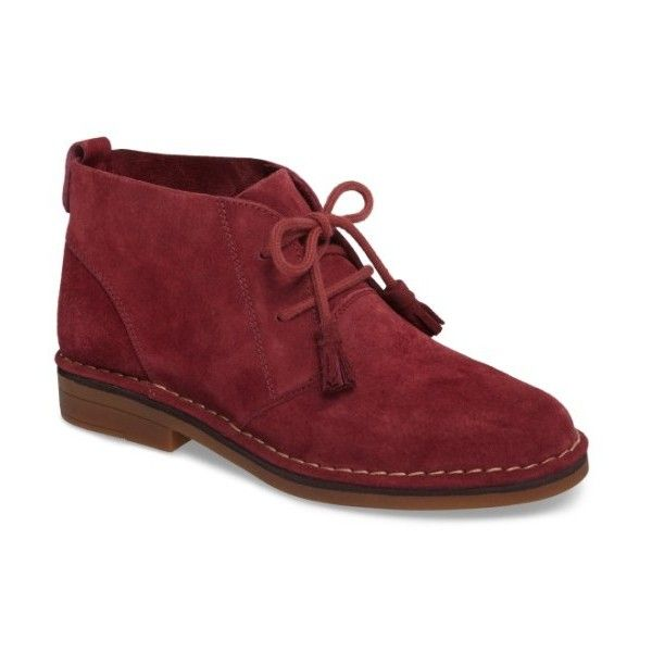 Women's Hush Puppies 'Cyra Catelyn' Chukka Boot (6.910 RUB) ❤ liked on Polyvore featuring shoes, boots, ankle booties, burgundy suede, suede tassel boots, burgundy boots, chukka boots, suede chukka boots and tassel booties