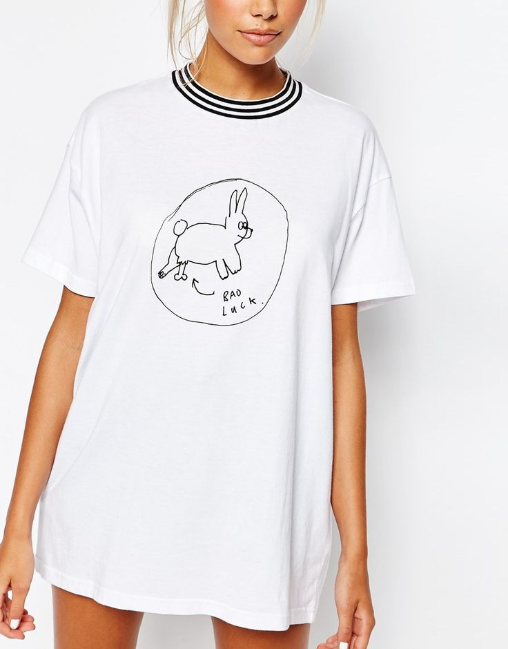 Image 3 of Lazy Oaf Ribbed Neck T-Shirt With Bad Luck Bunny Print