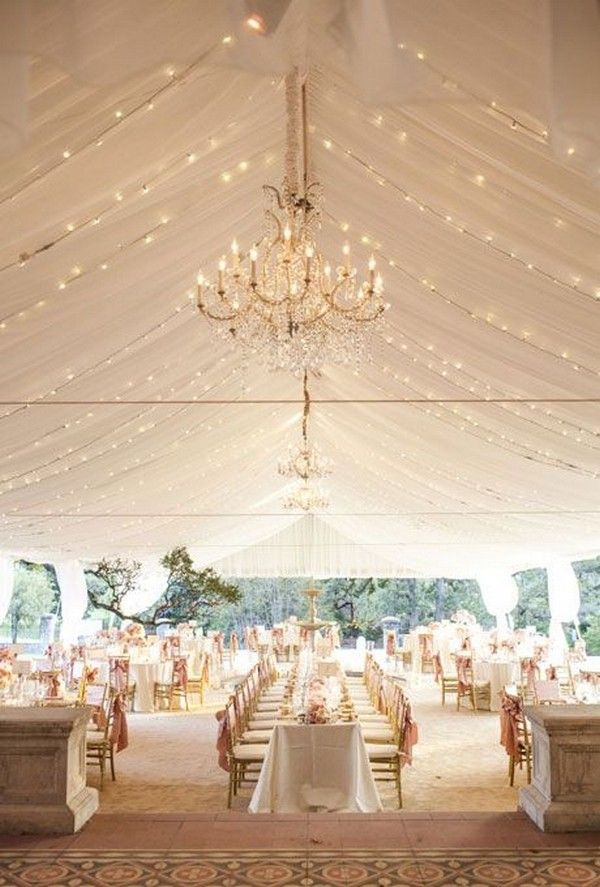 Draped Fabric and Chandelier Wedding Tent Decor Ideas / http://www.deerpearlflowers.com/wedding-tent-decoration-ideas/2/