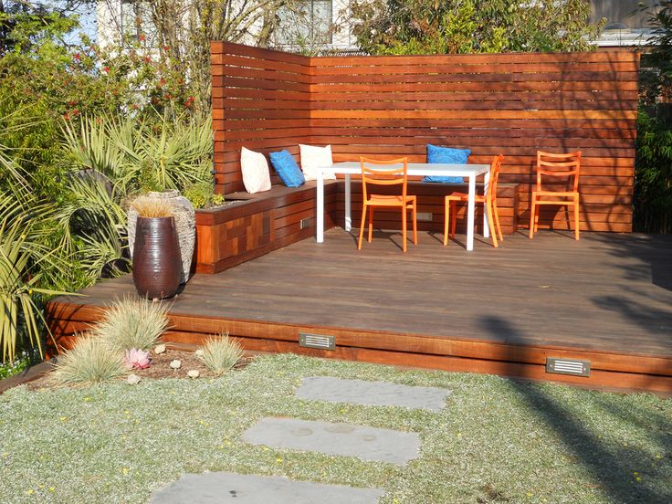 Exceptionnel Small Back Yard With Custom Freestanding Deck And Privacy Wall; Container  Plants And Stepping Stones
