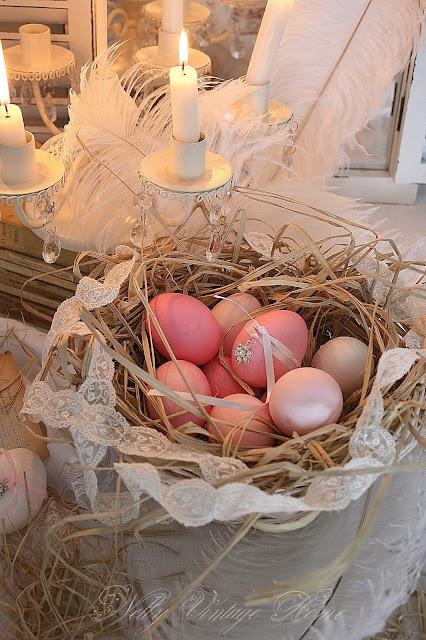 Pink Easter egg nest