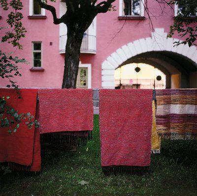 Finnish rag rugs hanging around Helsinki.