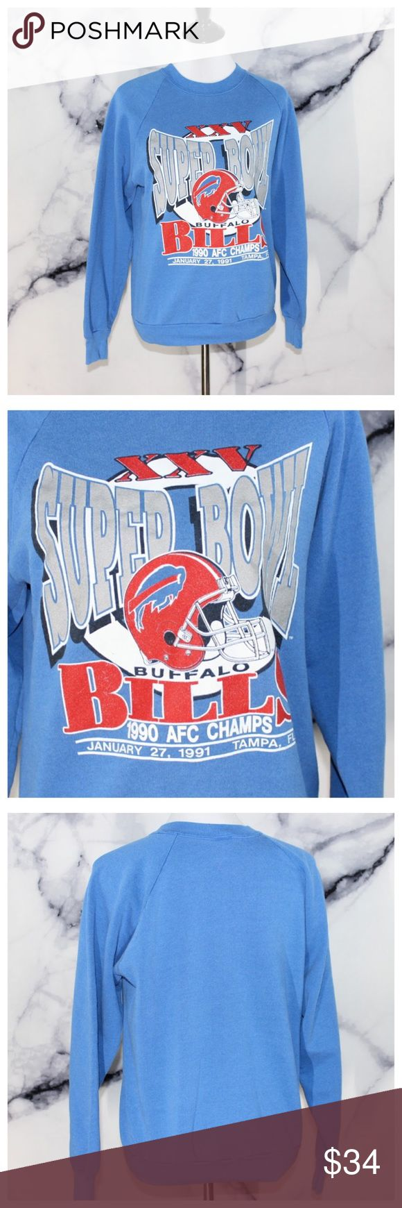 Vintage 1990 Super Bowl XXV Buffalo Bills Crewneck In excellent vintage condition. Size L. Shown on a M mannequin size 6/8. For additional information or measurements comment below. We are fast to respond. We ship same day M-SAT before 3PM PST. Fruit of the Loom Shirts Sweatshirts & Hoodies