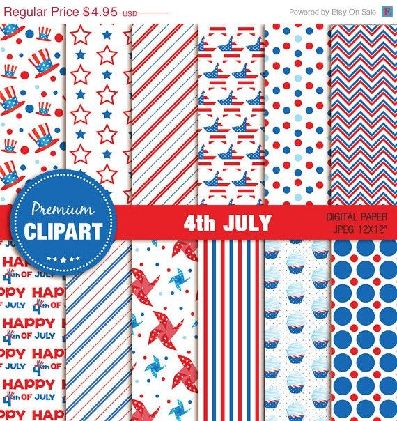 50% OFF SALE 4th of July clipart, commercial use, 4th July papers, scrapbooking, Independence day papers, patriotic papers, digital paper - by PremiumClipart on Etsy