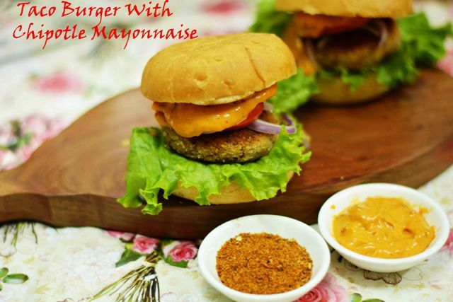Taco Vegan Burger With Chipotle Mayonnaise Treat yourself to an awesome dinner tonight....you deserve it #burger #taco #chipotle #mayonnaise #spicy #fresh_tomato_salsa #vegan ##dinner Recipe at: www.annapurnaz.in