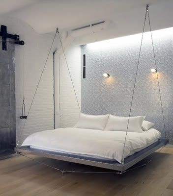 love the swinging bed idea