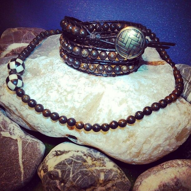 SemiPrecious Combinations - BRONZITE Triple Bracelet + BRONZITE & EBONY/CAMEL BONE Necklace