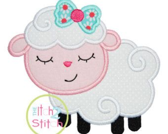 Sleepy Lamb Boy Applique Design Hoop Size 4x4 by TheItch2Stitch