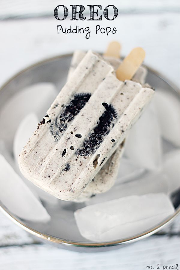 Oreo Pudding Pops. --~>These pudding pops are so creamy and delicious. They have bits of cookies and creme throughout, and they have a whole Oreo cookie inside!