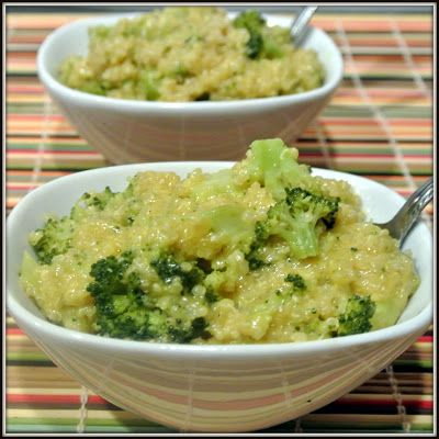 Cheesy Broccoli and Quinoa. 1 cup quinoa, well rinsed, 1 3/4 cups veg broth, 2 cups broccoli, chopped 1/2 cup cheddar, shredded, salt and pepper to taste, add quinoa, broth and broccoli in a large pot. Cover and simmer until tender. Add S & P and cheese