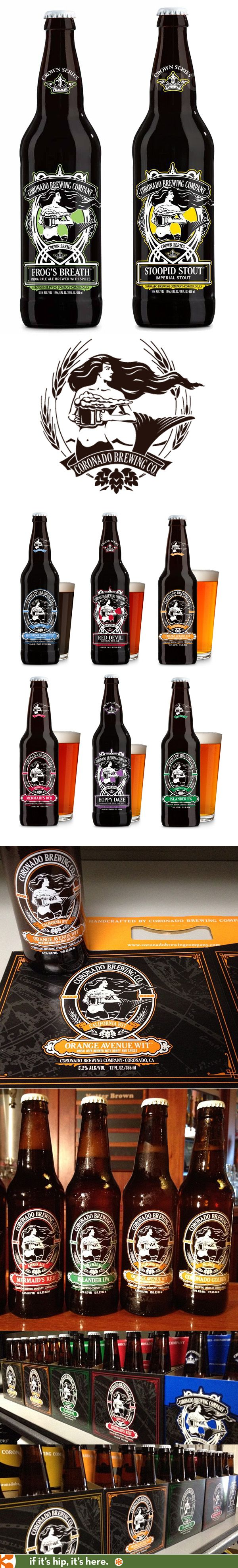 Coronado Brewing Companies' silk screened bottles for their Crown Series collection. Mermaid logo and fun names.