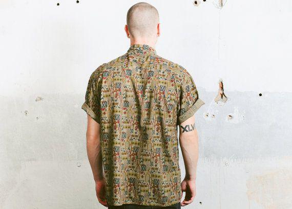 VERKOOP. AZTEC Print Shirt. Mens 80s van NorthernGrip op Etsy
