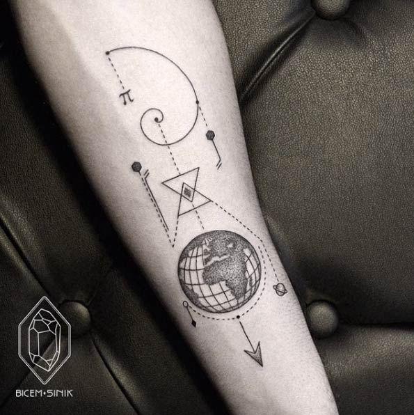 Geometric Globe Tattoo by Bicem Sinik