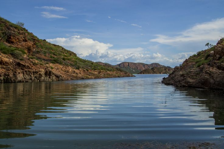 View looking out from Homestead Falls, Lake Argyle. Taken by Matthew Schneider.