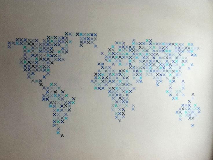 Carte du monde avec du masking tape, idée originale et pas cher !                                                                                                                                                     More