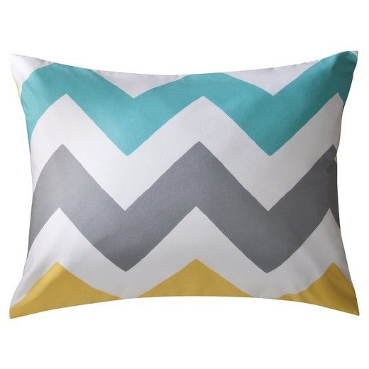This lively pillow sham is part of the Chevron bedding collection from Room Essentials;. Designed to fit a standard bed pillow, this white sham features chevron stripes in grey, teal and yellow. Great for a teen's room or dorm room, it is machine washable for easy care