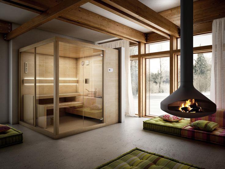 La #sauna #finlandese Arja ha due grandi vetrate che ti permettono di valorizzare il #design dei tuoi #interni - www.gasparinionline.it #home #relax #bagno #weloveit