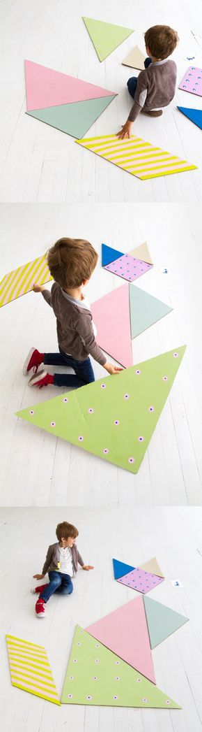 Make a giant tangram puzzle for kids. Includes free printable puzzle cards. This would be a fun game for a kid's birthday party!