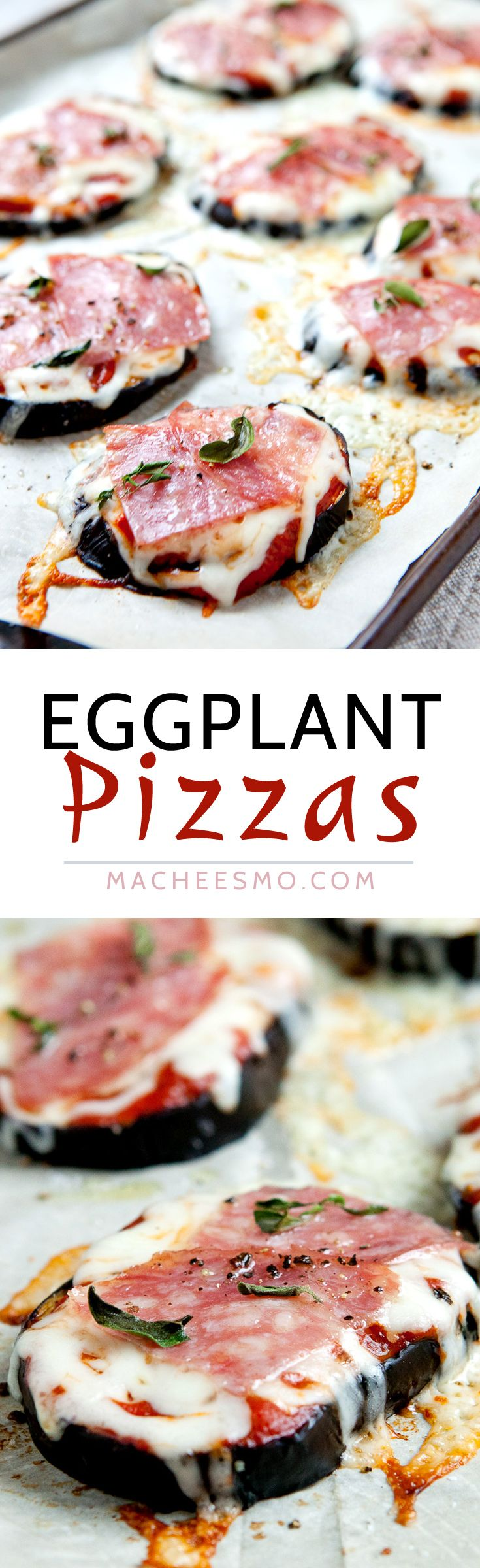 Easy Eggplant Pizzas: Baked eggplant rounds topped with easy pizza toppings like cheese, pepperoni, and oregano. A great quick, warm snack! | macheesmo.com