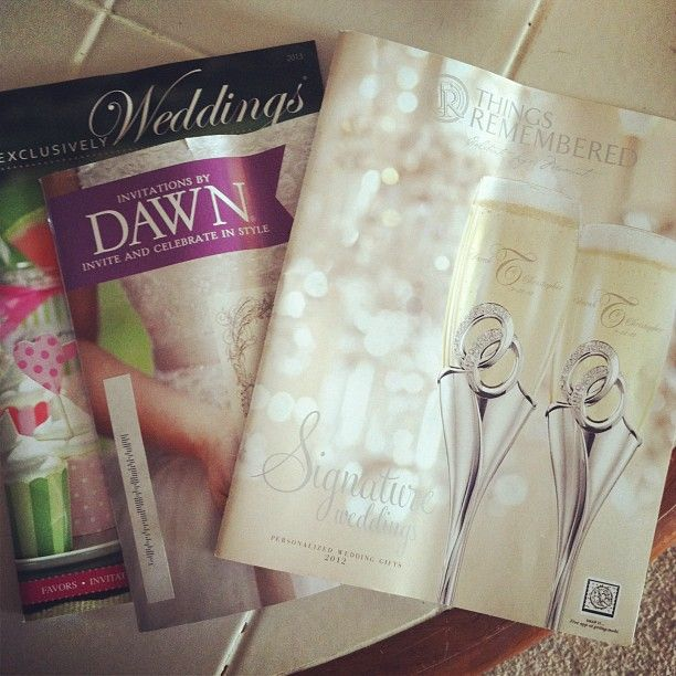 Sign up for free wedding catalogs through David's Bridal and Exclusively Weddings.