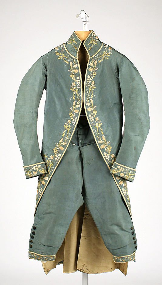 Suit  Date: 1774–93 Culture: British Medium: silk Dimensions: Length (a): 44 1/2 in. (113 cm) Length (b): 27 in. (68.6 cm) Credit Line: Gift of Mrs. F.D. Millet, 1913 Accession Number: 13.49.10a, b