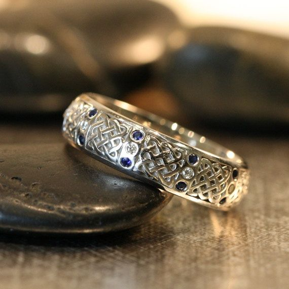 Celtic Wedding Band 14k White Gold Diamond от LaMoreDesign на Etsy