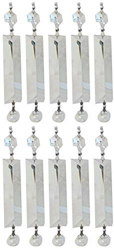 Royal Designs Replacement Chandelier Clear Crystal Prism K9 Quality Long Pyramid Cut and Hanging Bead Prism with Chrome Connectors and an extra Octogan Crystal Bead Pack of 10
