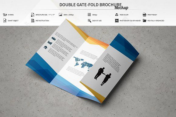 Double Gate-Fold Brochure Mockup by MassDream on @creativemarket - gate fold brochure mockup