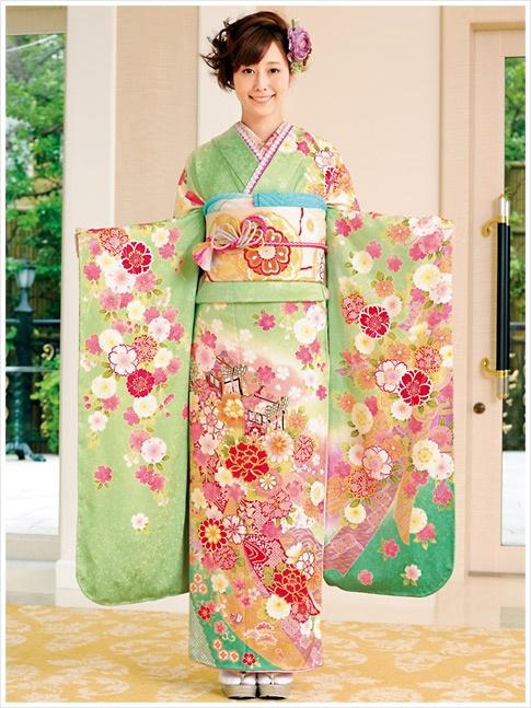 green Kimono with flowers