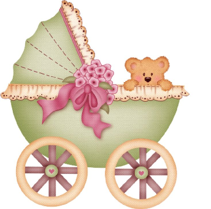 BABY CARRIAGE AND TEDDY BEAR CLIP ART