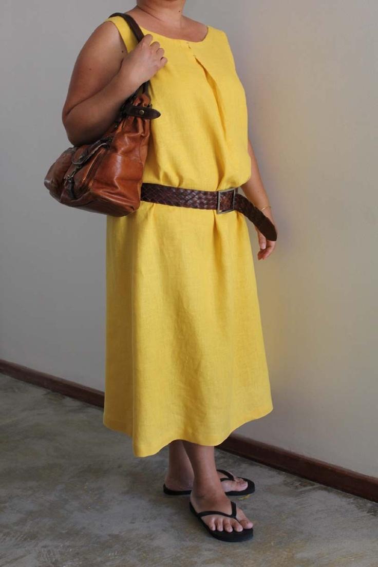 Simple yellow linen dress US size 14 (L/XL). $70.00, via Etsy.