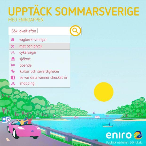 Upptäck mer av Sverige i sommar. I Eniros superapp är det lätt att hitta vägbeskrivningar till småvägar för att undvika de stora trafikerade stråken.