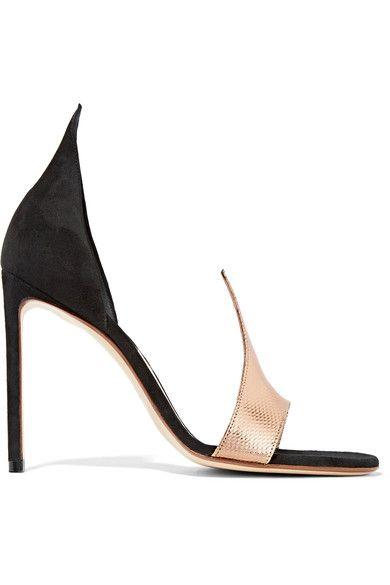 FRANCESCO RUSSO D'Orsay suede and snake sandals. #francescorusso #shoes #pumps