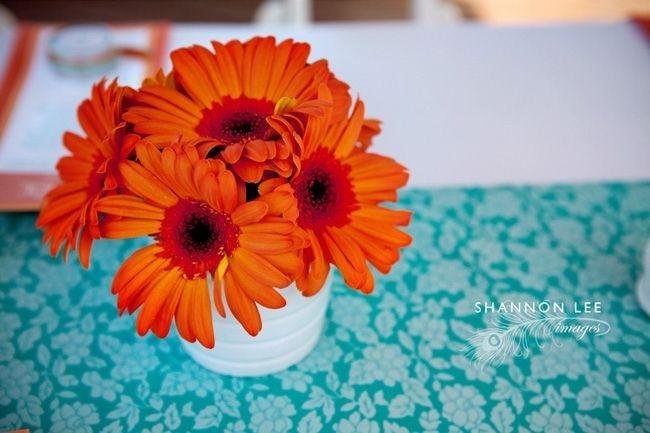 Turquoise and Orange Shower Decor