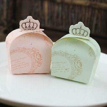 200pcs/lot Свадебные сувениры Свадьба Подарочная коробка бумаги коробка конфет Розовый / Зеленый Корона карту стиле Baby рождения Candy Box 35.49