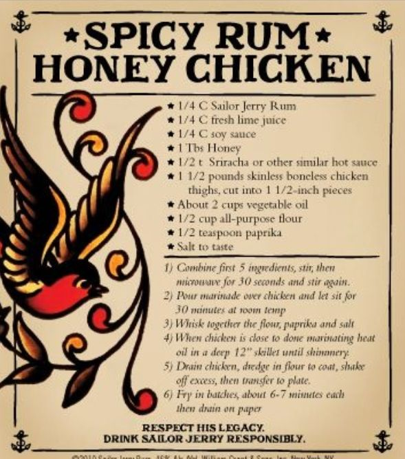 Sailor Jerry Spiced Rum & Honey Chicken... Used to make this all the time at the old house. Hella good!