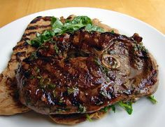 Grilled Lamb Steaks with Minted Honey Sherry Vinaigrette