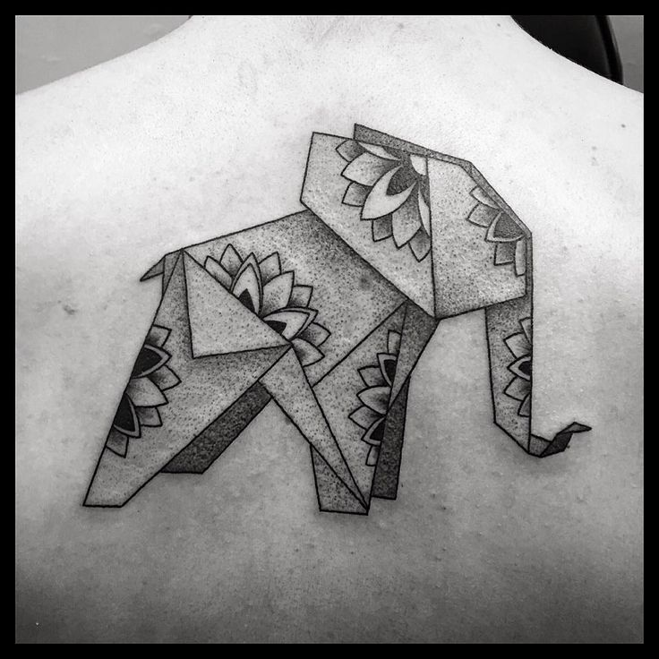 Cool origami Elephant Tattoo