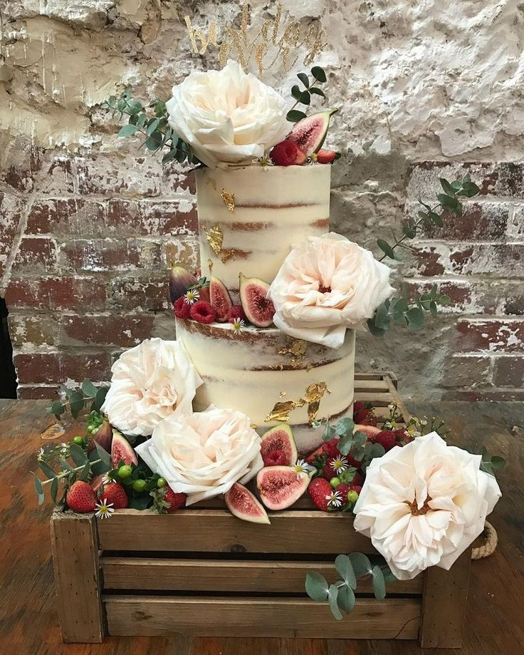 Rustic style semi naked wedding cake with gold leaf, figs, berries and beautiful… – engagement cake