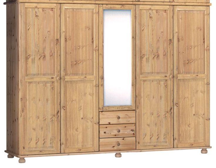 Inspirational Kleiderschrank HENRIK Kiefer massiv Kiefer cm mit Spiegel gelaugt ge lt Jetzt bestellen