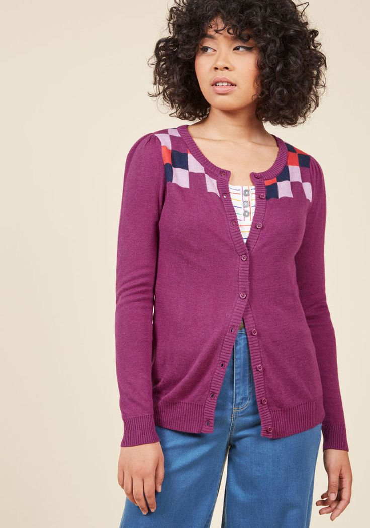 Chicly Checkered Intarsia Cardigan in Berry