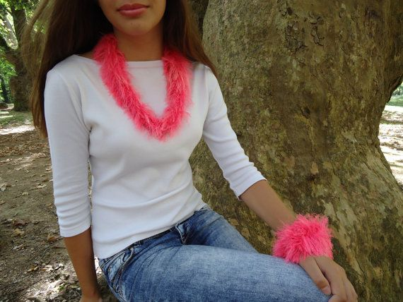 Handmade necklace knitted tube neon pink unusual by PopisBOUTIQUE