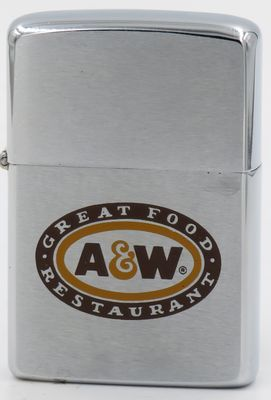 1979 Zippo advertising A&W a chain of fast-food restaurants distinguished by its draft root beer and root beer floats. A&W's origins date back to when Roy W. Allen opened a walk-up root beer stand in Lodi, California, in 1919