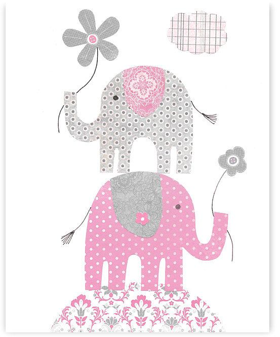 Printable Nursery Art Gray and Pink by SweetPeaNurseryArt on Etsy, $6.00