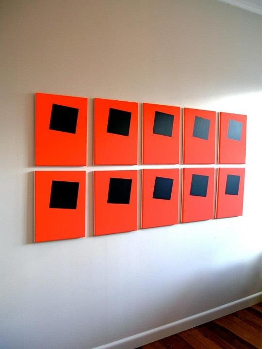 'Void' by previous AMP Scholarship recipient Jessica Pearless, (Series 2.01 - 2.10), acrylic on ten canvas panels, 2010 – 2011, Collection of The Wallace Arts Trust, 2011