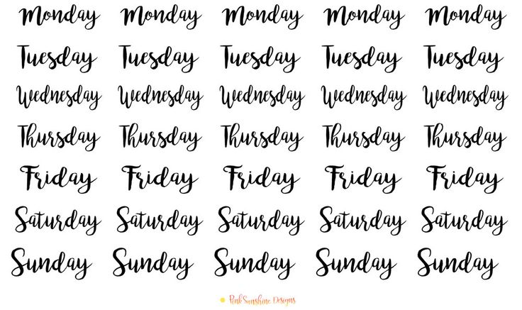 Days of the Week Monday, Tuesday, Wednesday, Thursday, Friday, Saturday and Sunday Stickers for your Planner, Scrapbook and Stationery by PinkSunshineSupplies on Etsy