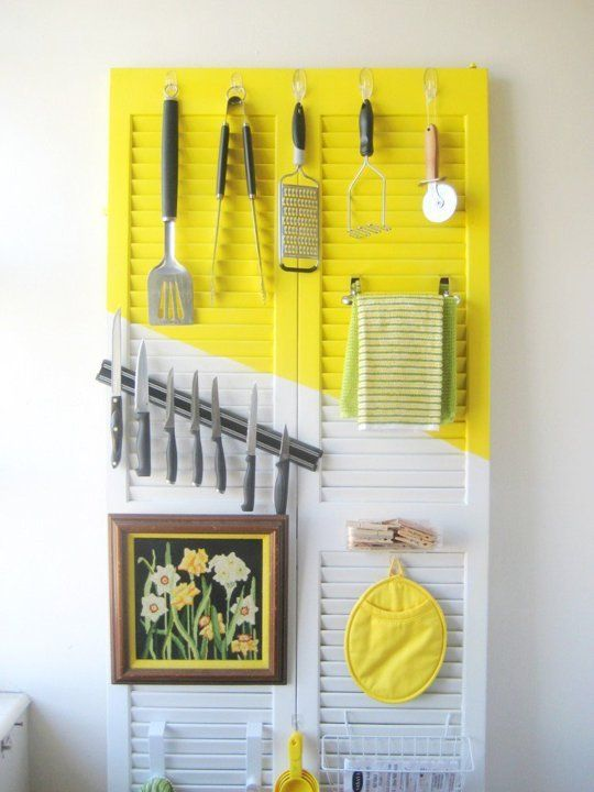 Turn an old door into a clever organizer.