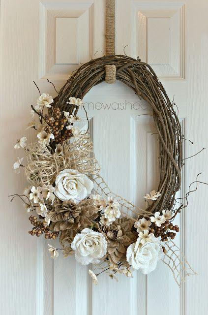 Burlap and Grapevine Wreath TIMEWASHED 2013 Fall Wreath