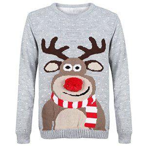 Myshoestore ® unisexe en 1970 's-Vingtage Pull de Noël rétro Motif renne Rudolph Olaf Frozen Pingouin Pom Pom nez Pull en tricot Pull Hauts…